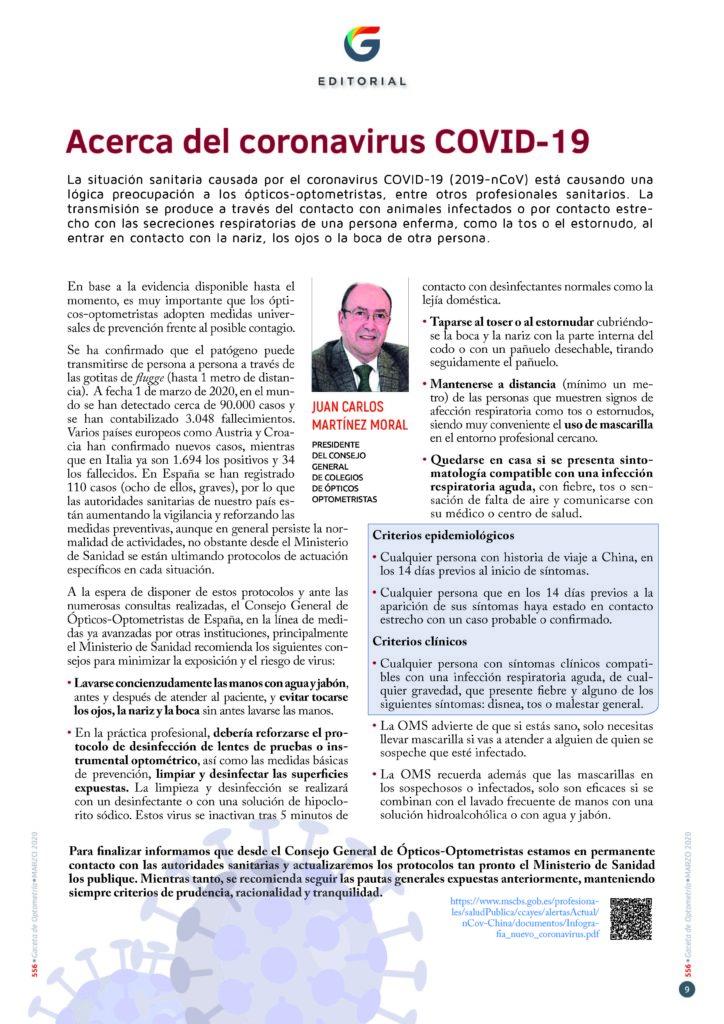 Editorial Gaceta Marzo 2020. Acerca del Coronavirus COVID-19