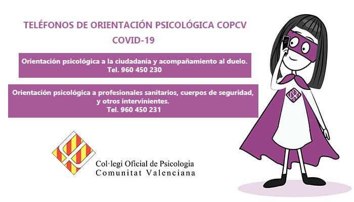 Teléfonos de Orientación Psicólogica COPCV – COVID-19