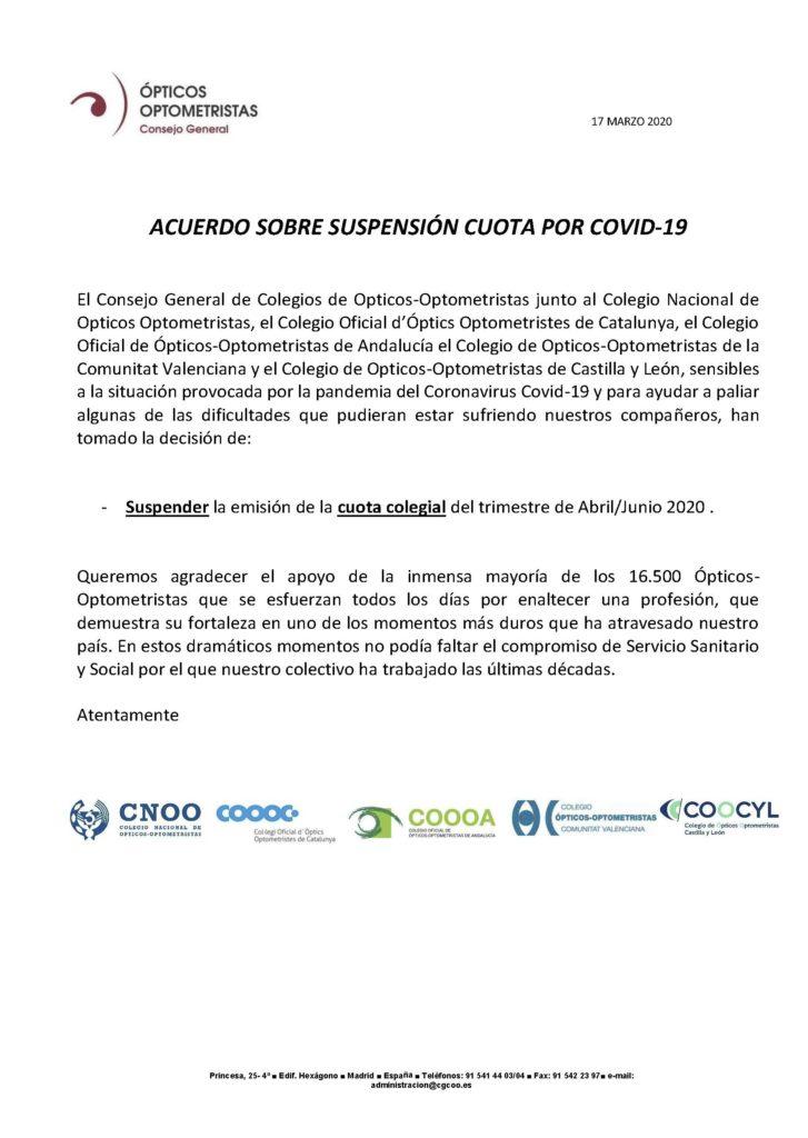 Comunicado CGCOO. Suspensión cuota