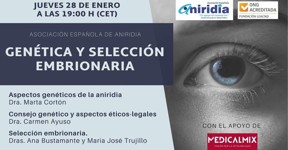 """LA ASOCIACIÓN ESPAÑOLA DE ANIRIDIA PONE EN MARCHA EL CICLO DE CHARLAS """"ANIRIDIA MES A MES"""""""