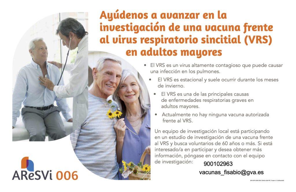 ENSAYO CLÍNICO PARA ESTUDIAR UNA NUEVA VACUNA FRENTE AL VIRUS RESPIRATORIO SINCITIAL EN PERSONAS A PARTIR DE 60 AÑOS DE EDAD.